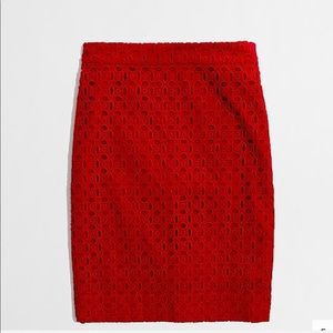 J. Crew Red Pencil Skirt In Exploded Eyelet. 2.